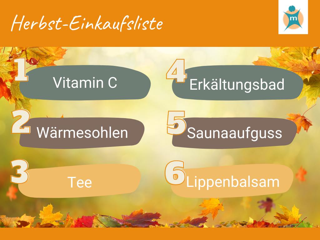 Herbst-Einkaufsliste